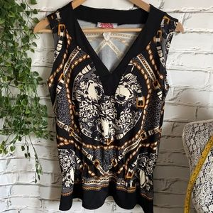 Black and Gold Sleeveless Top